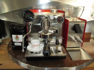 The Club The Grinder Ferrari Red with TriColore Beans and Salvatore Cup $2600